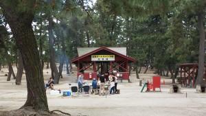 キャンプ場でバーベキュー