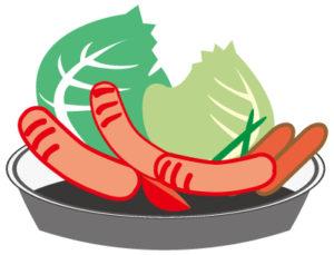 バーベキュー、ソーセージ、野菜